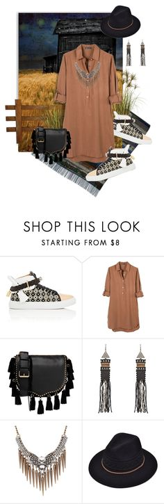 """Dress and Sneakers: Western Style"" by valeria-meira ❤ liked on Polyvore featuring Indigo Wild, BUSCEMI, United by Blue, Rebecca Minkoff, Zeus+Dione, fringe, cowboy, shirtdress, western and SNEAKERSANDDRESSES"
