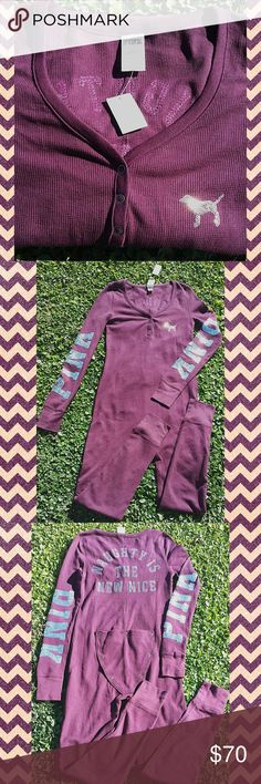 NWT VS PINK ONSIE  NEW WITH TAGS. THIS COLOR IS PERFECT FOR FALL OR WINTER. IT IS A PLUM/MAROON COLOR. NO HOLES OR STAINS. NO FLAWS. JUST TRIED ON. SOFT MATERIAL. THERMAL MATERIAL. CUTE QUOTE ON BACKSIDE. BUTT FLAP FOR QUICK BATHROOM BREAK. WITH TAX PAID $67 PINK Victoria's Secret Intimates & Sleepwear
