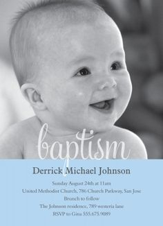 Baptisms & Christening Invitations - Select printing options and begin customizing your card for design 8224 Baptism Party, Baptism Ideas, Baptism Reception, Baptism Announcement, Baby Dedication, Dedication Ideas, Baby Event, One Sweet Day, Photo Invitations