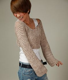 Hand knit sweater - wheat cover up top. $55.00, via Etsy.