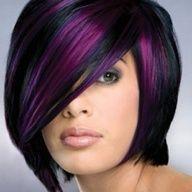 Long asymmetrical bob haircut, love the peekaboo of purple