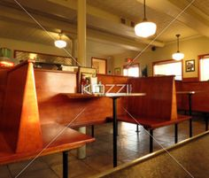Vintage wooden booths at the diner.