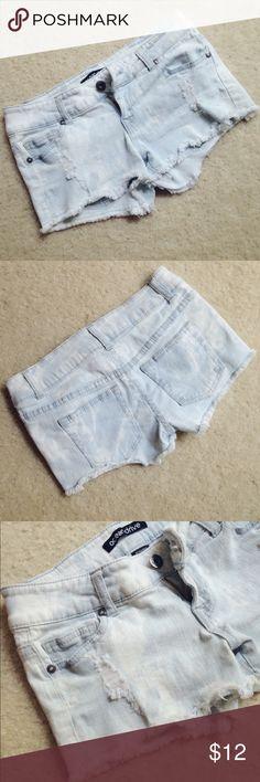 "Ocean drive denim shorts Light-washed denim shorts, super short with ripped hem, 99% cotton, 1% spandex, low-rise, size S, waist 14"", inseam 2"". Ocean Drive Shorts Jean Shorts"