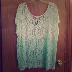 Brand new ombré lace top Never been worn top. Very cute over a mint or black tank top. Size on tag says 22/24 but can fit someone a little smaller. Let me know if you have any questions! Lane Bryant Tops Blouses