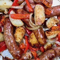 Sheet Pan Sausage Potatoes Peppers and Onions - The Genetic Chef For a quick no fuss dinner, this Sheet Pan Sausage Potatoes Peppers and Onions is just what you need. Toss everything in a sheet pan and roast. Roasted Potato Recipes, Onion Recipes, Entree Recipes, Sausage Recipes, Pork Recipes, Sausage Potatoes And Peppers, Oven Roasted Peppers, Potatoes In Oven, Bake Sausage In Oven