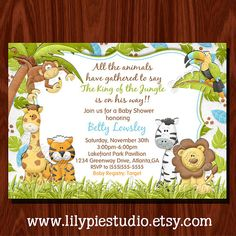 NEW Jungle Baby Shower Invitation Printable by LilyPieStudio