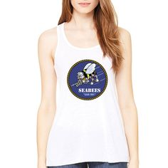 Officially Licensed U.S. Navy Ladies Tank Top now available! This new tank top will keep you cool and dry with its dry-wicking and antimicrobial technology. It's comfortable scoop neck, attractive racerback and longer body length will make it great to wear around town, to the gym or just to relax. Designed & Sublimated in the USA.