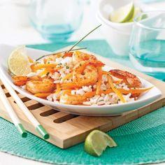 Salade-repas aux crevettes, riz et lait de coco - Recettes - Cuisine et nutrition - Pratico Pratique Healthy Recipes, Fish And Seafood, Light Recipes, Seafood Recipes, Macaroni And Cheese, Meals, Chicken, Orange, Cooking