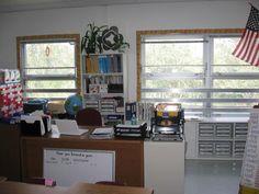 Teacher desk organization--lots of classroom photos here.