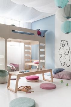 A place to play for toddlers with B bench from Rafa-kids with F bunk bed
