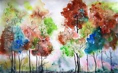 Aquarellmalerei, Bäume, Farben Hintergrundbilder Bilder Fotos