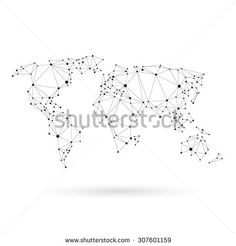 Geometric world map design silhouette. Black line vector illustration - stock vector