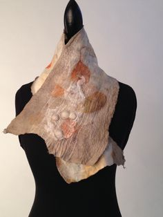 Nuno Felt Collar, eco printed with eucalyptus leaves and dyed in a madrone bark bath. www.dreamweavingdesigns.com