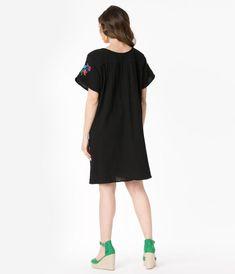 Vintage Dresses - Retro & Vintage-Inspired Dresses – Unique Vintage 1960s Fashion, Girl Fashion, Fashion Outfits, Vintage Inspired Dresses, Vintage Dresses, Black Tunic Dress, Mod Look, 1960s Dresses, Embroidered Tunic