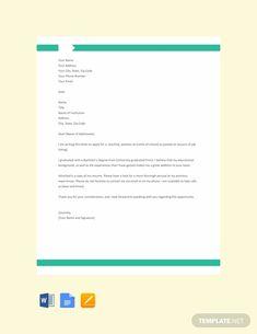 Free Application Letter for a Teaching Job Template Letter Of Intent, Application Letters, Teaching Jobs, Letter Sample, Google Docs, Word Doc, Ann, Apple, Lettering