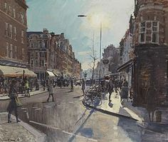 "Peter Brown, 85  Marylebone High Street Across to Ghatti's, 2013 - Oil - 34"" x 40"""