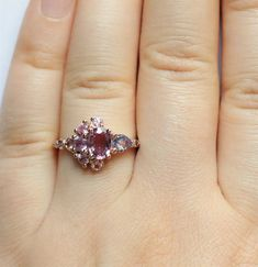 Ombre Pink Sapphire Cluster Engagement Ring by Irina 1 Carat, Tiny Diamond Ring, Purple Rings, Purple Sapphire, Rose Gold Pink, Pink Love, Cluster Ring, Wedding Jewelry, Boho Wedding