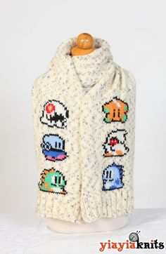 Bubble Bobble Scarf Fan edition by Yiayiaknits on Etsy