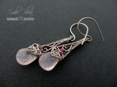 Rose Quartz wire sculpture earrings