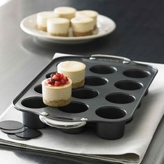 Shop Norpro Mini Cheesecake Pan at CHEFS. Finally mini cheesecakes that look like cheesecakes instead of cupcakes. Yummy Treats, Sweet Treats, Yummy Food, Delicious Recipes, Köstliche Desserts, Dessert Recipes, Mini Cheesecake Pan, Cheesecake Recipes, Lemon Cheesecake