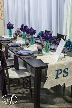 color scheme: blue jars filled with purple flowers