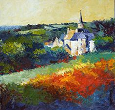 A Franch Chateau and a poppy field