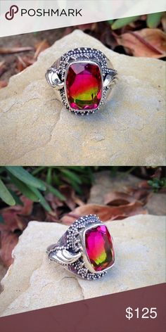 solid sterling silver bicolor quartz ring Beautiful unique ruby red to peridot green ombré bicolor quartz in a pretty detailed bohemian gypsy style setting. This ring can be sized to fit. Jewelry Rings