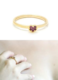 Dainty 14k gold ring with 6 Red Ruby stones  14k by LeybmanJewelry