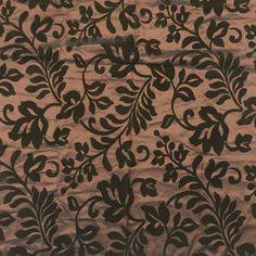 BROWN Flowers Velvet Flocked Taffeta Fabric Cushion Costumes Gothic Craft Dress