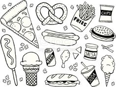 junk food/fast food themed doodle page. A junk food/fast food themed doodle page.A junk food/fast food themed doodle page. Doodle Drawings, Easy Drawings, Doodle Art, Food Doodles, Bujo Doodles, Pages Doodle, Doodle Inspiration, Food Drawing, Junk Food