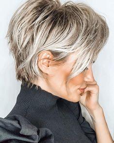 How To Curl Short Hair, Short Grey Hair, Short Hair Cuts, Blonde Short Hair Pixie, Short Fine Hair, Short Hair Over 50, Short Pixie Bob, Black Hair, Chic Short Hair