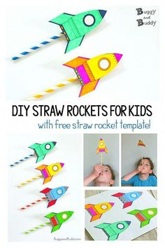DIY Straw Rocket Craft for every child: The same STEM and STEAM activity creates . - DIY Projekte - DIY Straw Rocket Craft for every child: The same STEM and STEAM activity is fun for children of all - Stem For Kids, Diy For Kids, Cool Stuff For Kids, Straw Art For Kids, Stem Projects For Kids, Art Projects, Rocket Template, Straw Rocket, Kid Rocket