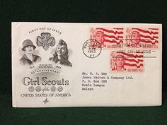 50th Anniversary Girl Scouts USA First Day Cover Burlington Button Day Station