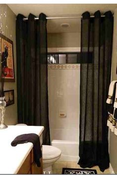 Long Shower Curtain Place Rod Close To Ceiling