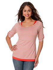 Elbow Sleeve Pull Down Double Opening Mock Layer Nursing Top