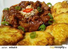 Pikantní vepřové kostky na česneku recept - TopRecepty.cz Pork, Food And Drink, Yummy Food, Beef, Chicken, Baking, Ethnic Recipes, Red Peppers, Meat