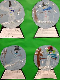 """""""write a sentence with a snow globe craft...perfect for kindergarten"""""""