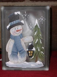 Designs by Cheryl Skalski-Packets & Glass Blocks Christmas Glass Blocks, Christmas Art, Christmas Decorations, Christmas Signs, Painted Glass Blocks, Lighted Glass Blocks, Snowman Crafts, Holiday Crafts, Brick Crafts