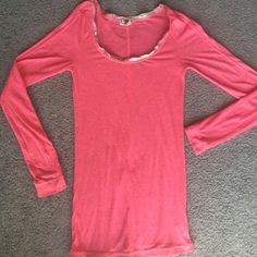 Free people hot pink silver trim scoop neck Free people long sleeve- super light weight & soft. Silver trimmed scoop neck. Great condition!  Free People Tops