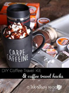 Make your own coffee travel kit while you're on the road. Here's an easy, step by step guide on how to make a coffee travel kit. DIY Coffee Travel Kit  #DunkinCreamers AD