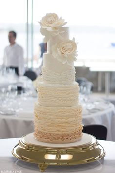 Ruffled White Wedding Cake