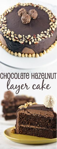 Chocolate Hazelnut Cake: two layers of rich chocolate cake, sandwiched between…(Nutella Cake Recipes) Chocolate Hazelnut Cake, Chocolate Food, Chocolate Cakes, Chocolate Muffins, Chocolate Cream, Chocolate Frosting, Delicious Desserts, Dessert Recipes, Egg Recipes