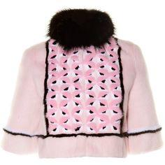 Fendi Bag Bugs fur jacket (57,955 MYR) ❤ liked on Polyvore featuring outerwear, jackets, pink multi, print jacket, fendi, short fur jacket, pink fur jacket and fur jacket