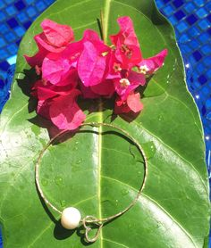 Handmade 14K Gold Filled Bangle With Genuine Freshwater Pearl & Gold Vermeil Charm