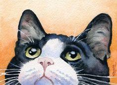 TUXEDO CAT Watercolor Signed Fine Art Print by by k9artgallery, $12.50