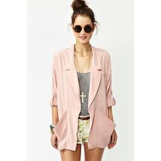 Light Pink Blazer Blush drape pocket blazer. This item was recently bought but when I went to iron it before shipping out I noticed a minor flaw as pictured. TRADE Nasty Gal Jackets & Coats Blazers