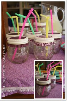 "American Girl Party--jelly jars with cupcake liner lids and straws for the ""big"" girls"