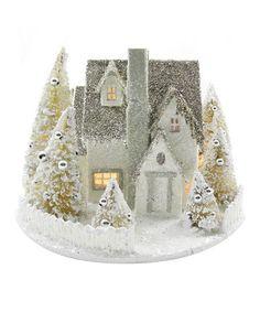 Ivory & Silver Snowy Light-Up Cottage by KD Vintage on #zulily