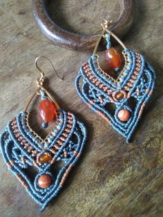 Macrame earrings with carnelian and red agate stones