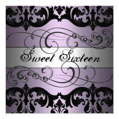 Purple/Silver Damask Sweet 16 Birthday Invitation